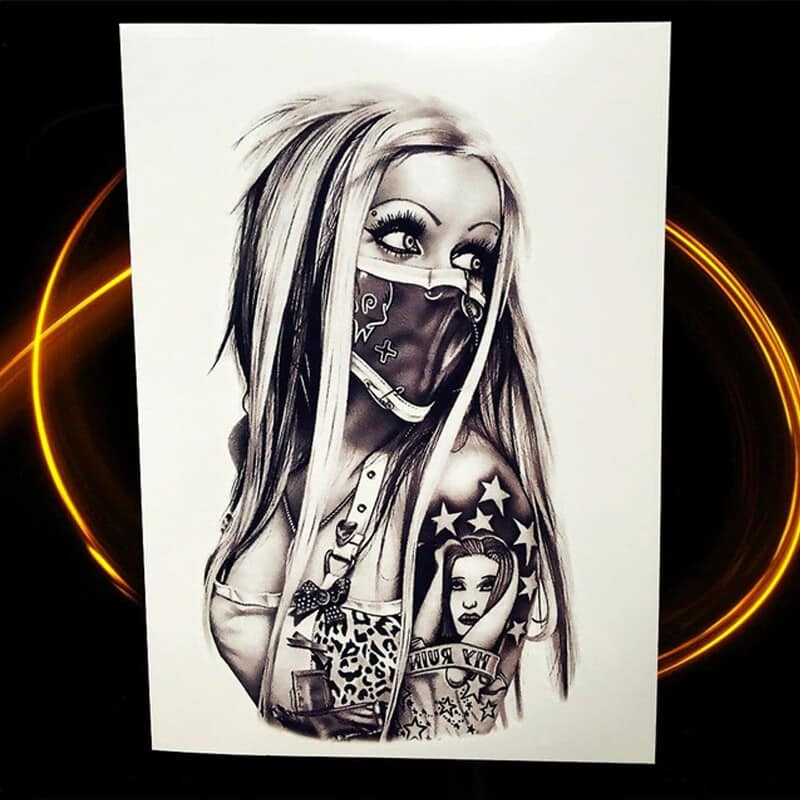 začasni tattoo ženska bojevnica