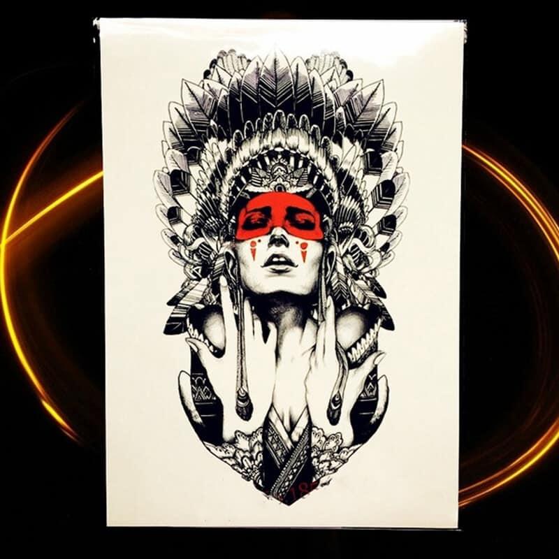 Začasni tattoo mogočne bojevne in strastne indijanske princese 1