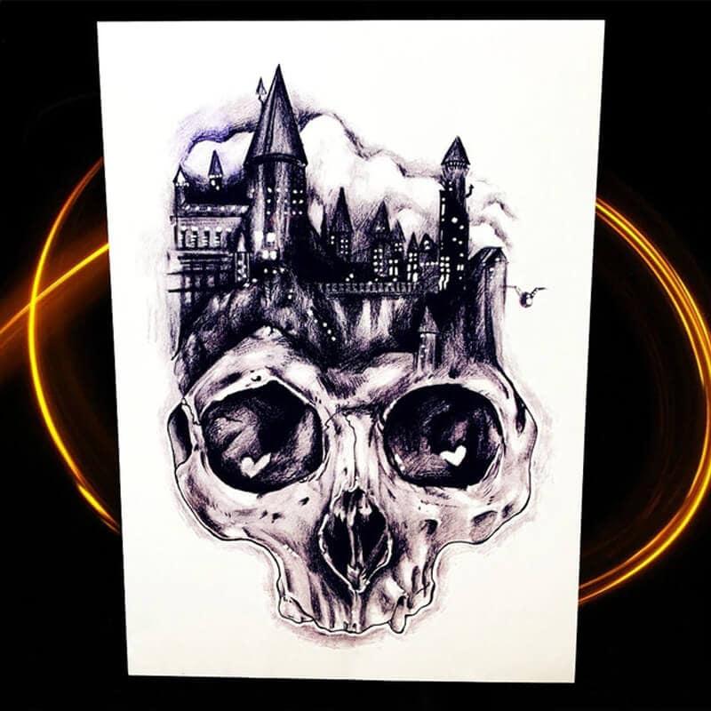 Začasni tattoo - Grad in lobanja v kateri so srca v očesu 1