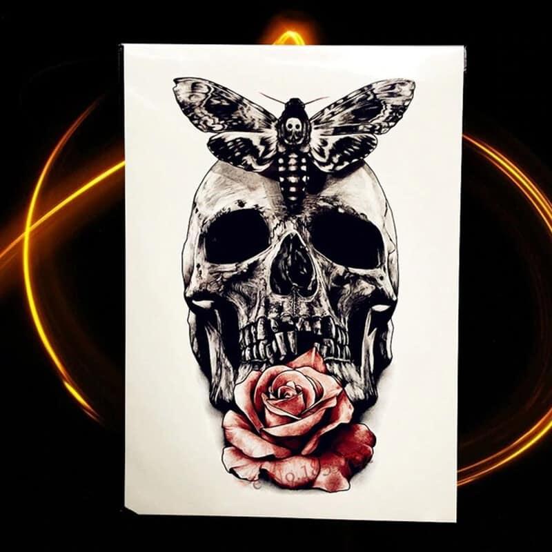 začasni tattoo lobanja z metuljem