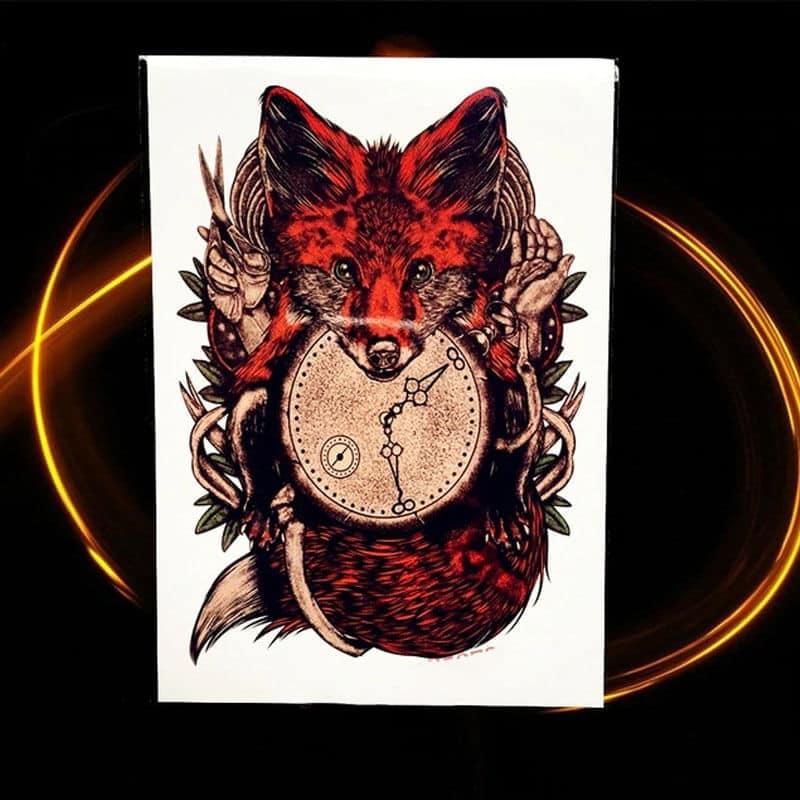 Začasni tattoo - lisica z uro rdeča barva - inteligenca in znanje 1