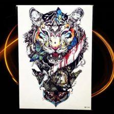 začasni tattoo tiger s simbolom mavričnega življenja