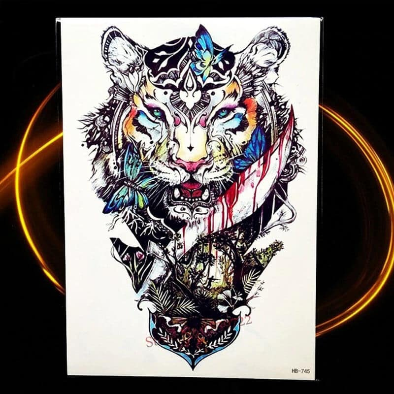 Začasni tattoo - tiger s simbolom mavričnega življenja 1