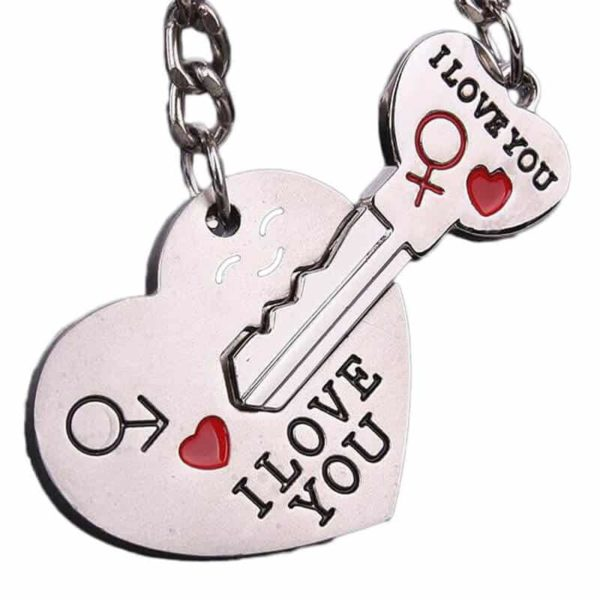 obesek s srcem in ključem za ključe