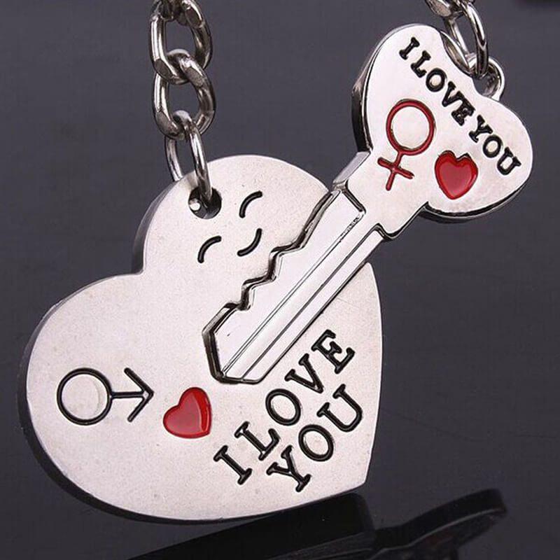 obeski za ključe I love you s ključem in srcem