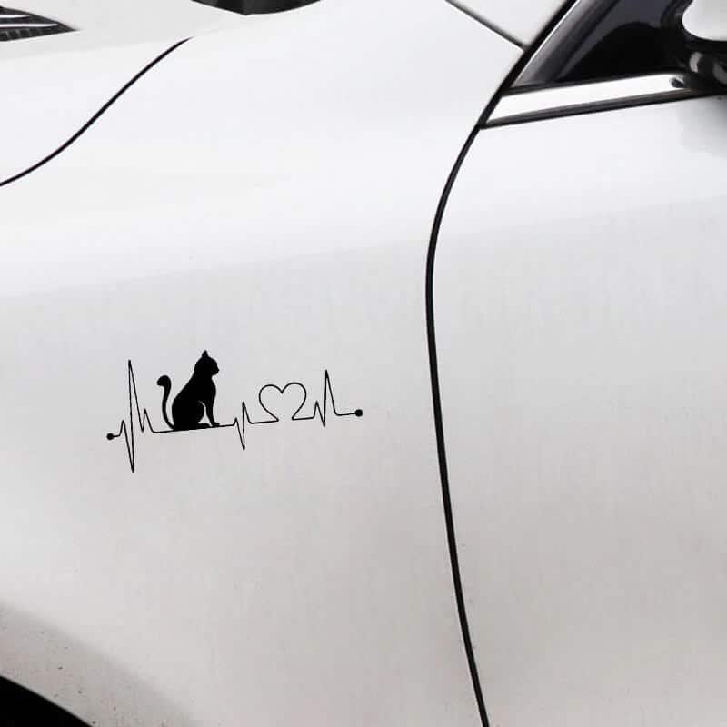 črna nalepka muca in bitje srca nalepka za avto