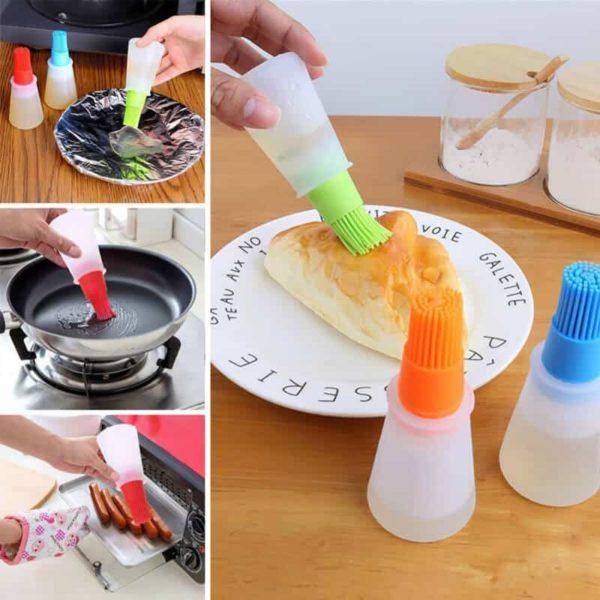BBQ dodatki za peko - silikonski čopič in silikonska plastenka