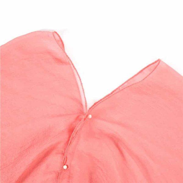 Obleka za plažo roza barva gumbi kot biseri