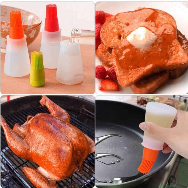 Prenosna silikonska plastenka s čopičem za peko BBQ