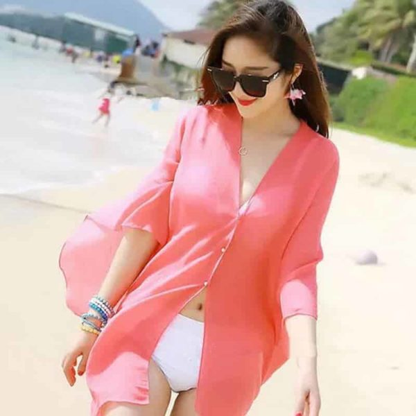 Sexy obleka za plažo roza barva