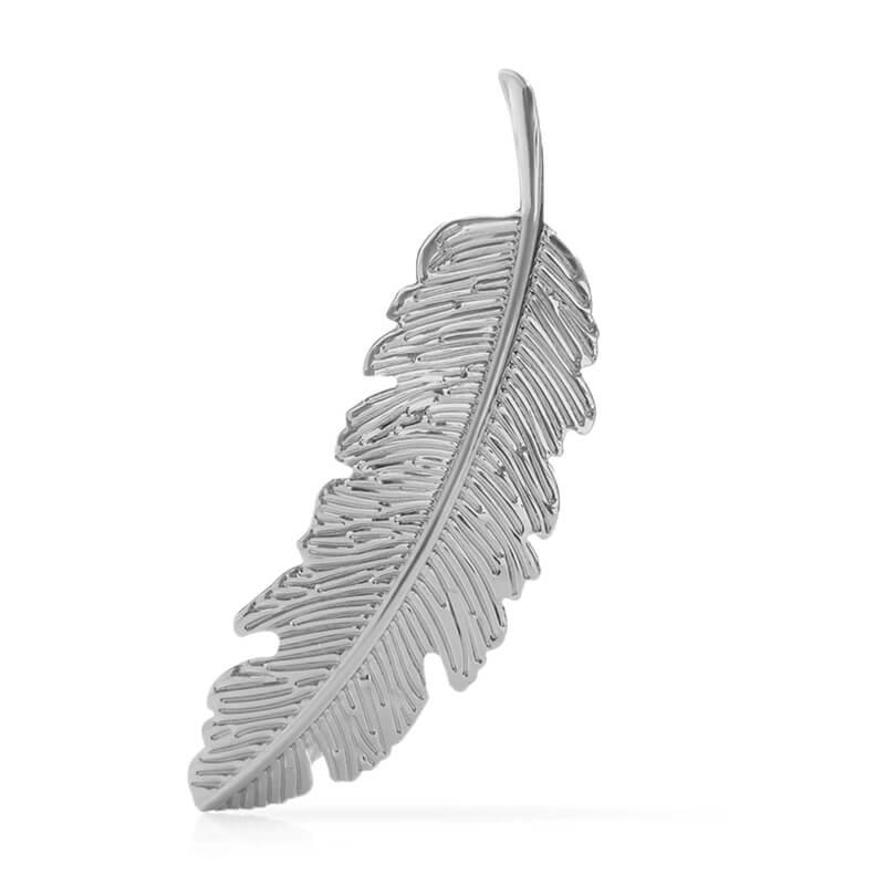 Sponka za lase v obliki lista - srebrna barva