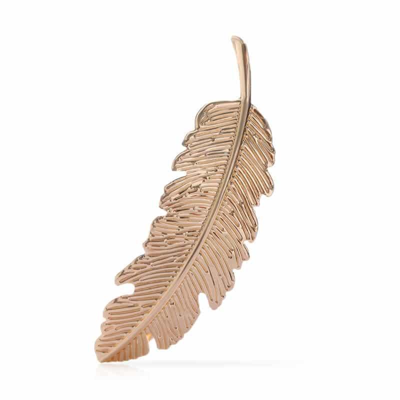 Sponka za lase v obliki lista - zlata barva