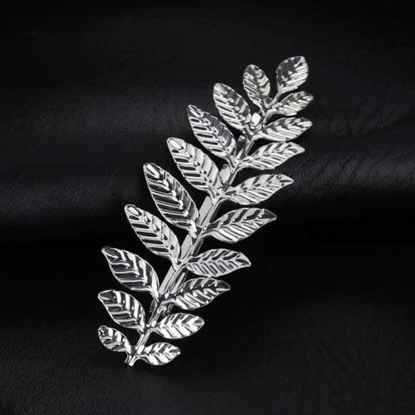 Sponka za lase v obliki modernega lista - srebrna