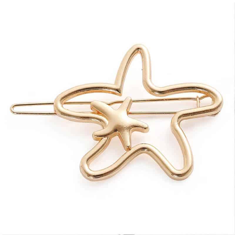 Sponka za lasje oblika moderne zvezde zlata