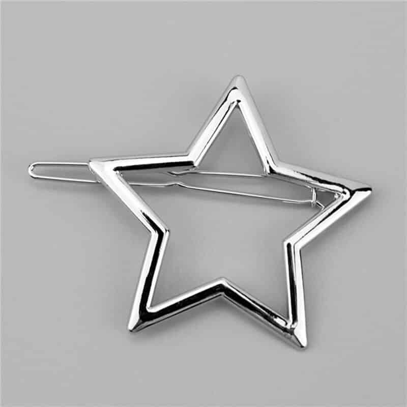 Sponka za lasje v vzorcu zvezdice -srebrna