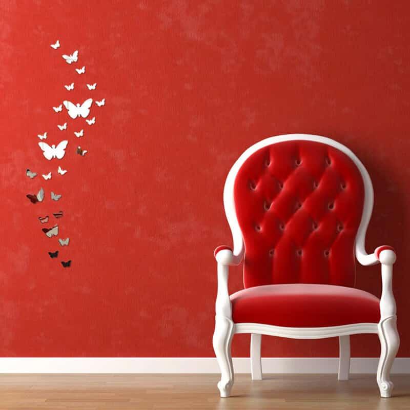 Stenske nalepke srebrni metuljček