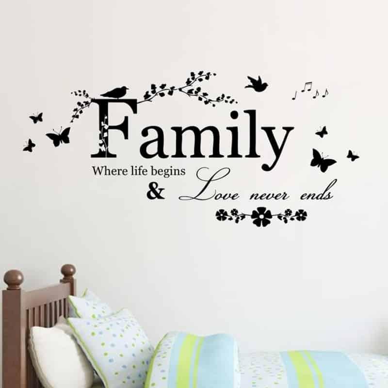 Stenske nalepke Family Love never ends