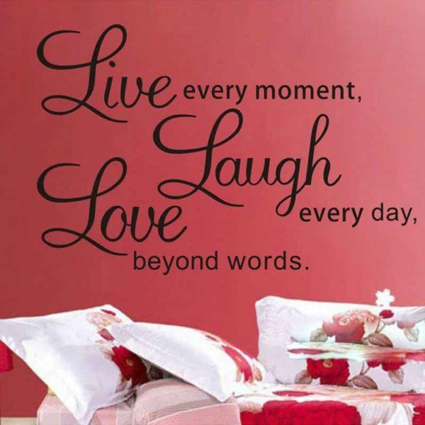 Stenske nalepke misleni napis Love Laugh Live