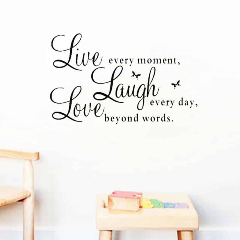 Stenske nalepke napisi Laugh Live Love