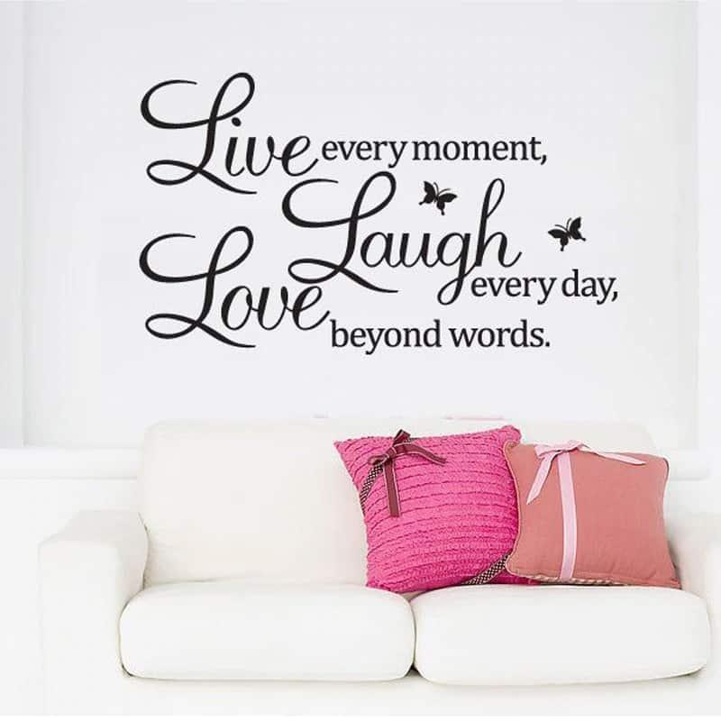 Stenske nalepke pozitivne misli Love Laugh Live
