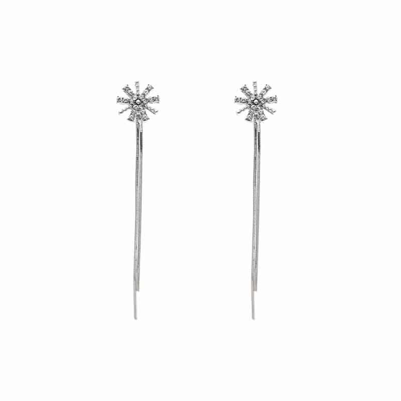 dolgi viseči uhani srebrni za poroke in priložnosti
