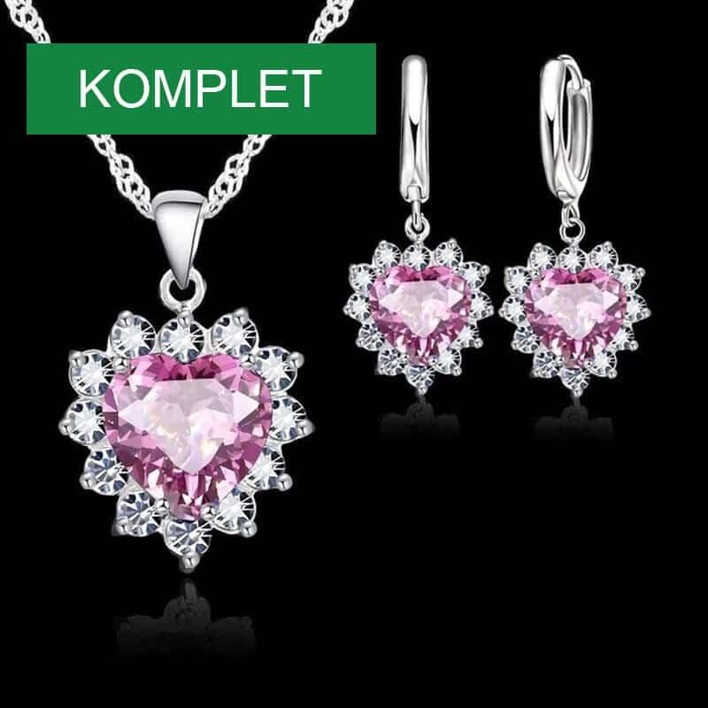kristalna verižica in uhani roza barve v obliki srca