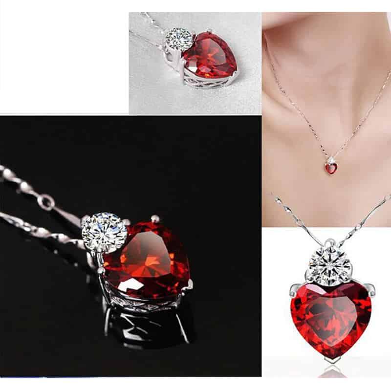 kristalna verižica rdeče barve s kristalom v obliki srca in diamantom