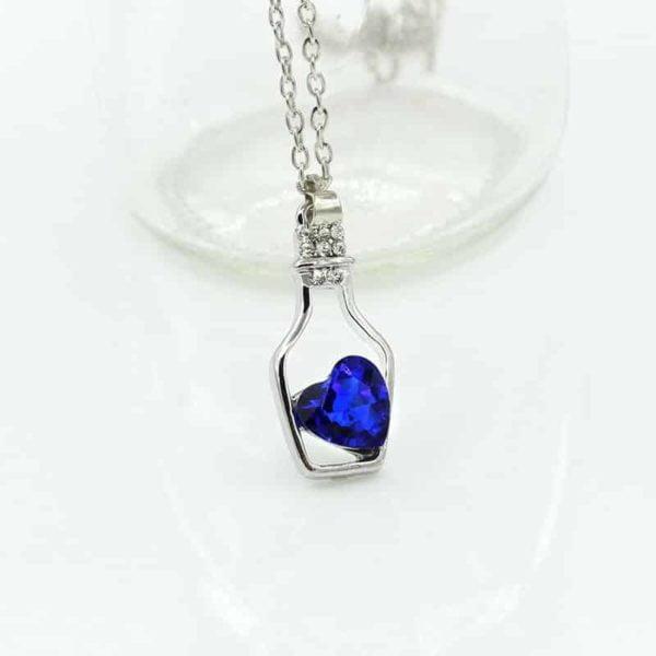 kristalna verižica za ženske z obeskom flaše ljubezni in kristalnim srcem