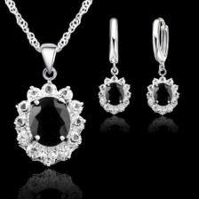kristalni uhani z verizico in diamanti srebrna barva