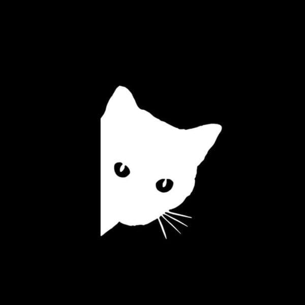 mačka nalepka za avto bele barve
