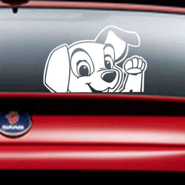 nalepka za avto simpatičen pes bele barve