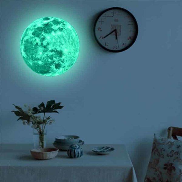 otroška stenska nalepka svetleča v obliki lune