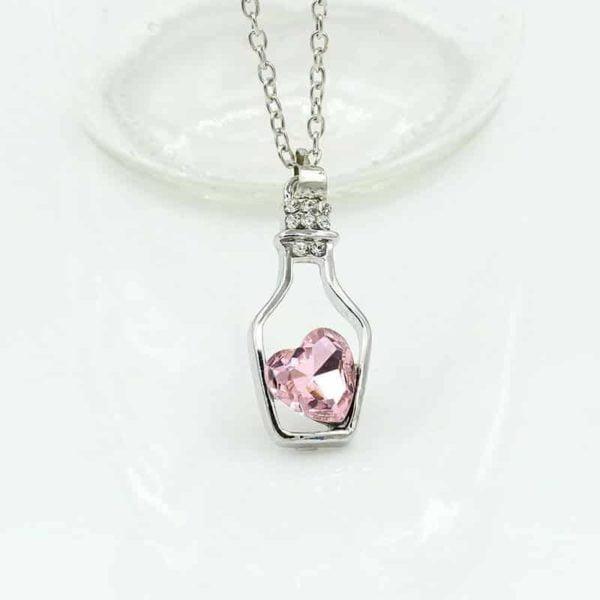 srebrna verižica flaša ljubezni kristalna