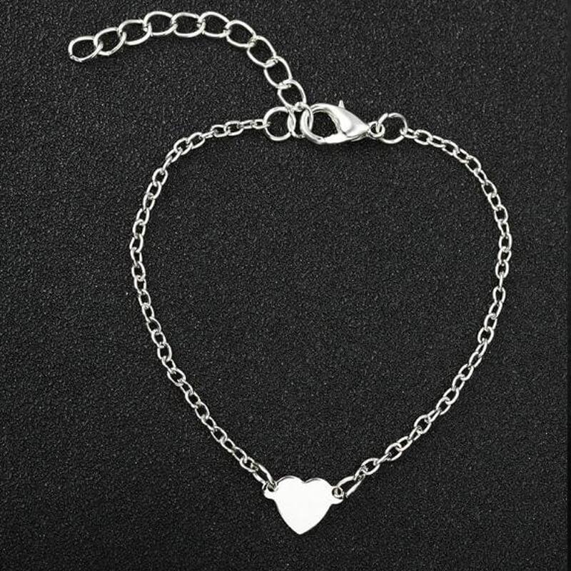 srebrna zapestnica s srcem ženska