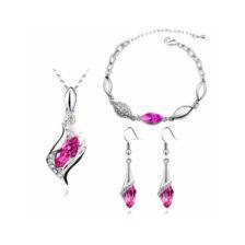 verizica z zapestnico in uhani roza barva