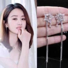 viseči uhani z zvezdo in diamanti