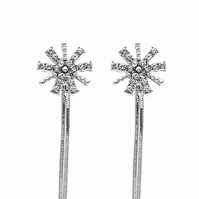 viseči uhani z diamanti dolgi srebrne barve