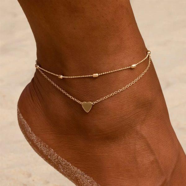 zapestnica za nogo s srcem zlata barva