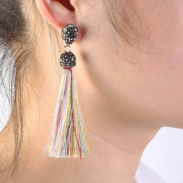 Dolgi viseči uhani večbarvni trakovi