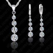 Elegantna verižica in uhani z belimi dijamanti