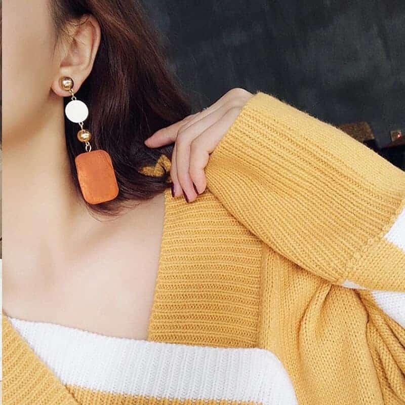 Leseni viseči uhani pravokotna oblika