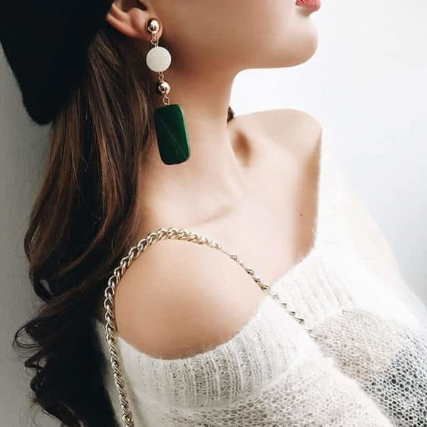 Leseni viseči uhani pravokotne oblike