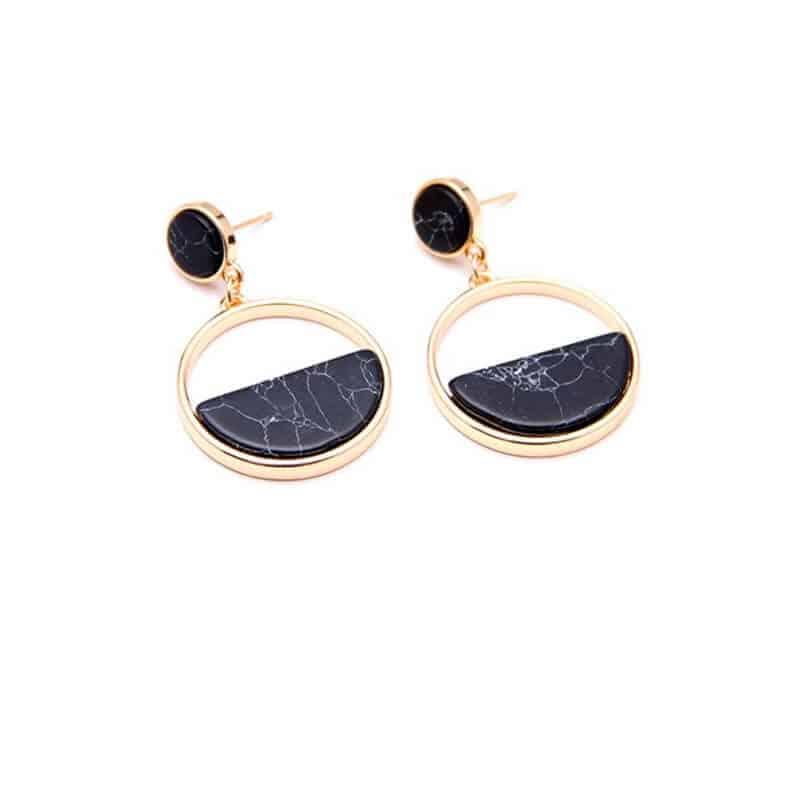 Okrogli zlati uhani črni