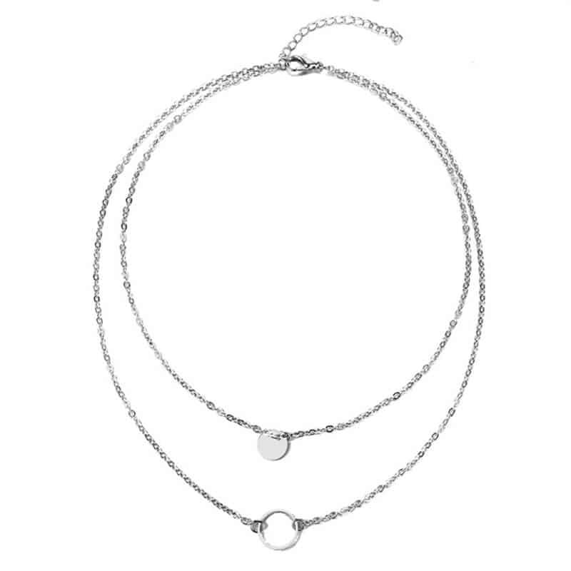 Večslojna verižica z simbolom polnega in praznega kroga