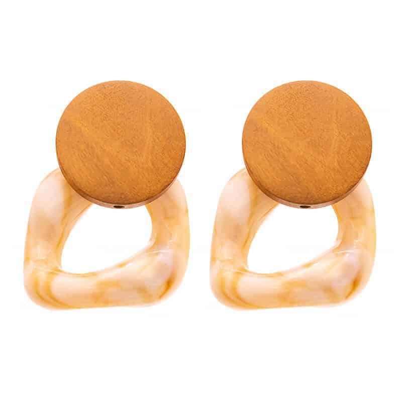 modni uhani za ženske iz lesa in kamna