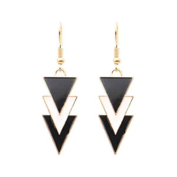 viseči uhani trikotniki iz kamna in zlato kovino