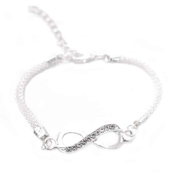 zapestnica neskončno z diamanti srebrna