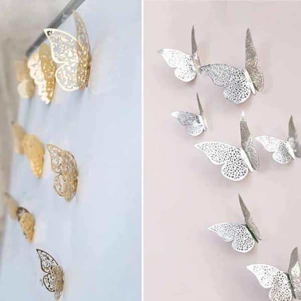 3D metuljčki zlata ali srebrna barva 2
