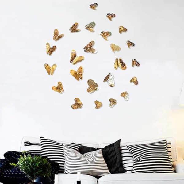 3D metuljčki zlata ali srebrna barva 1