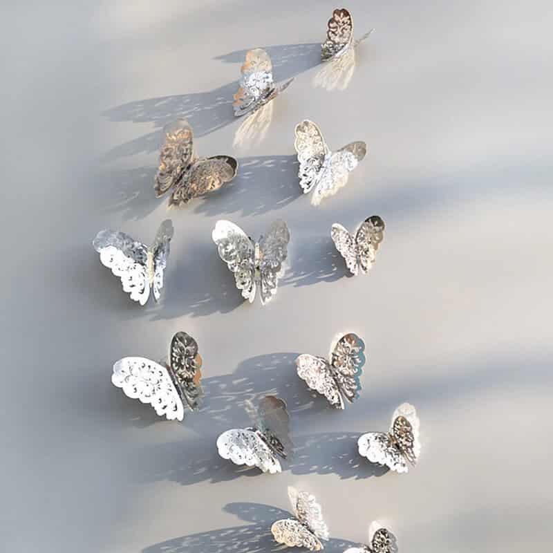 3d metuljčki srebrna barva prelep vzorec